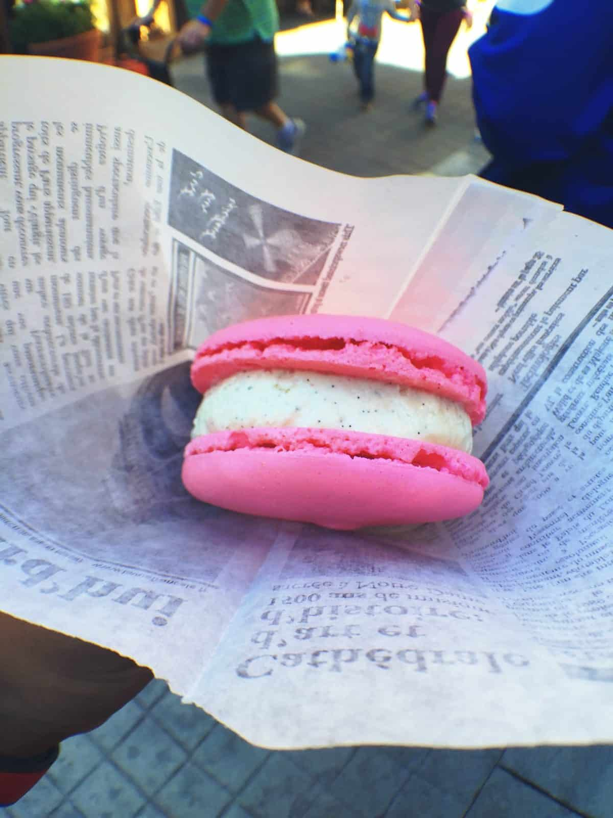 Strawberries and Cream Macaroon Ice Cream Sandwich