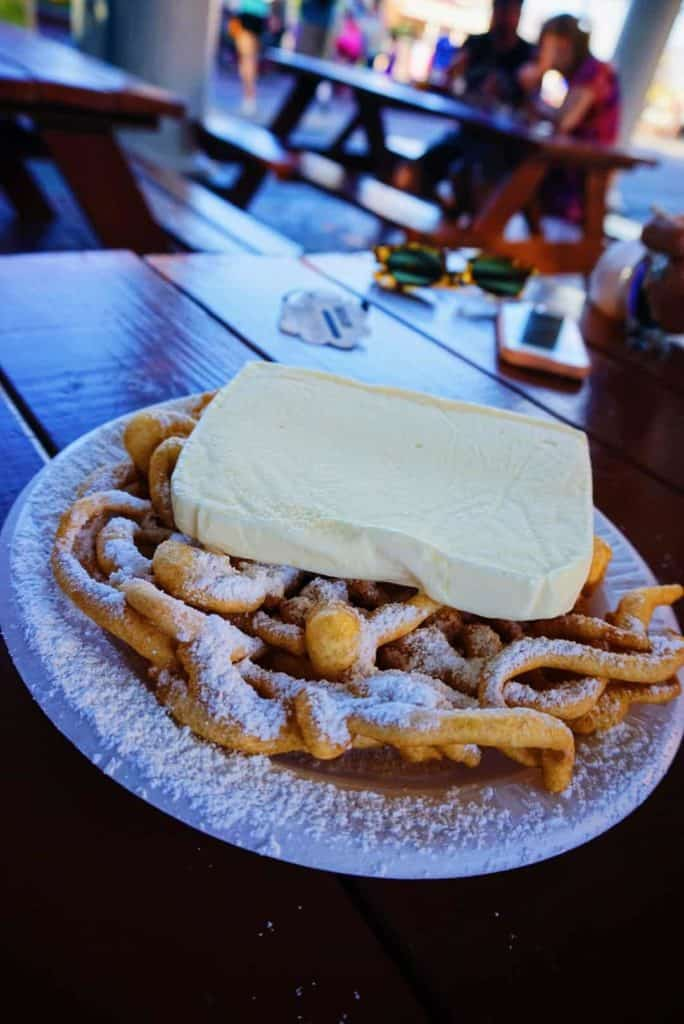 Funnel Cake with Vanilla Ice Cream at Disney World